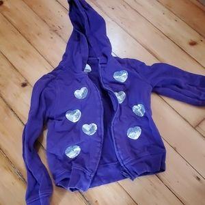 Kids zip up purple hoodie with heart sequins